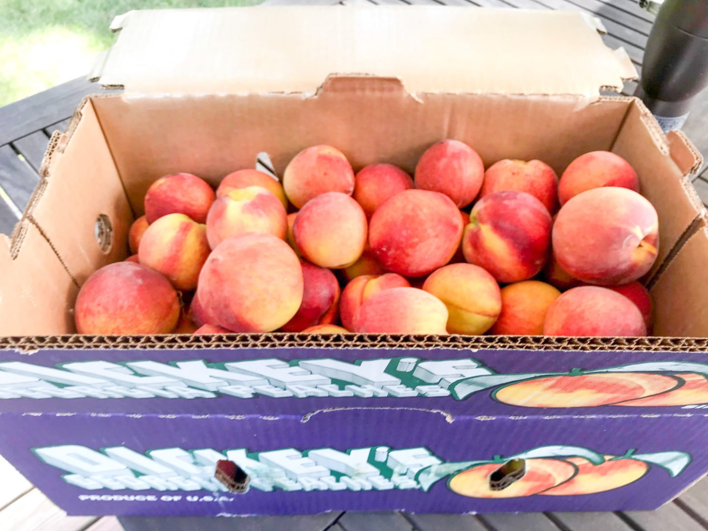 25lbs of peaches from the Georgia Peach Truck. With this many peaches, fresh peach cobbler is a must!