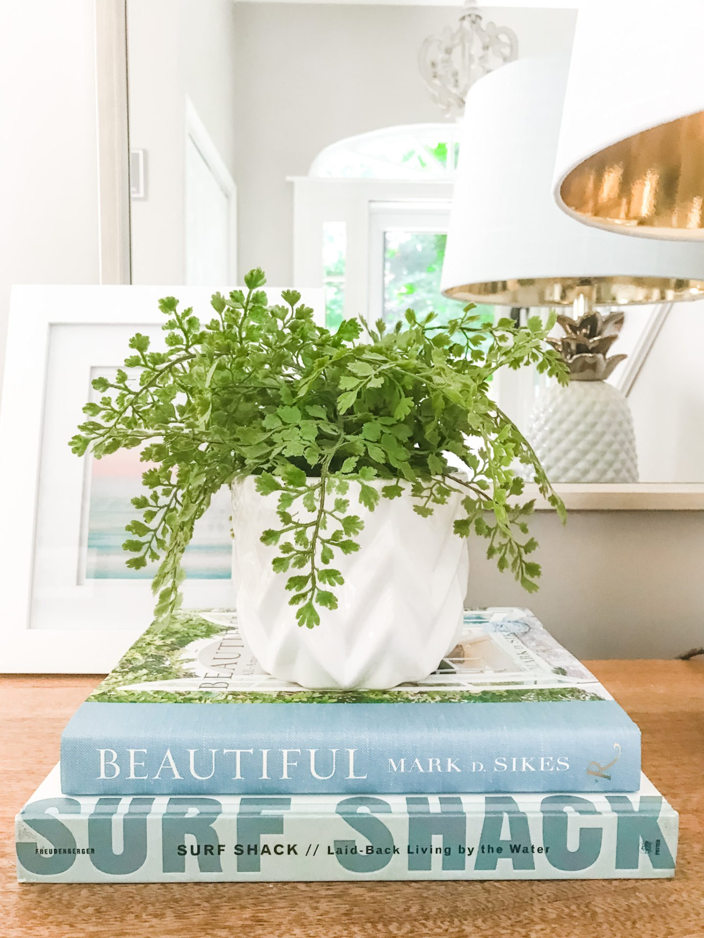 Stacked books with a planter