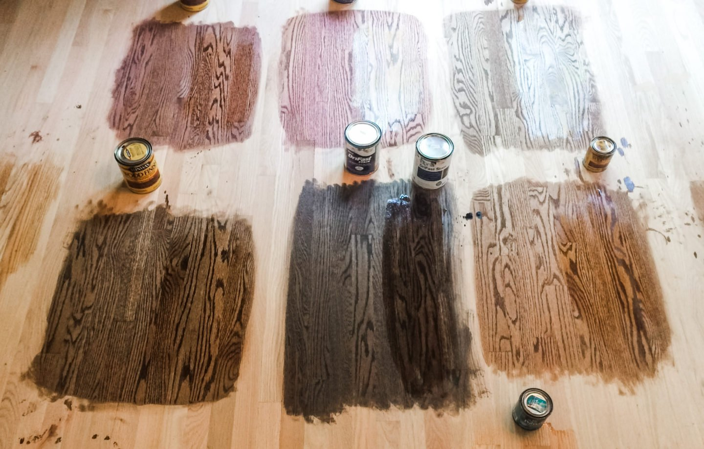 We applied our six stain choices to the floors once they were sanded to help us make a decision