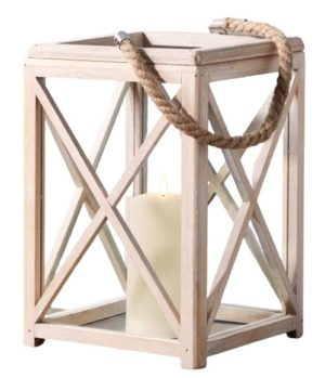 White Wooden Indoor Lantern with Rope Handle