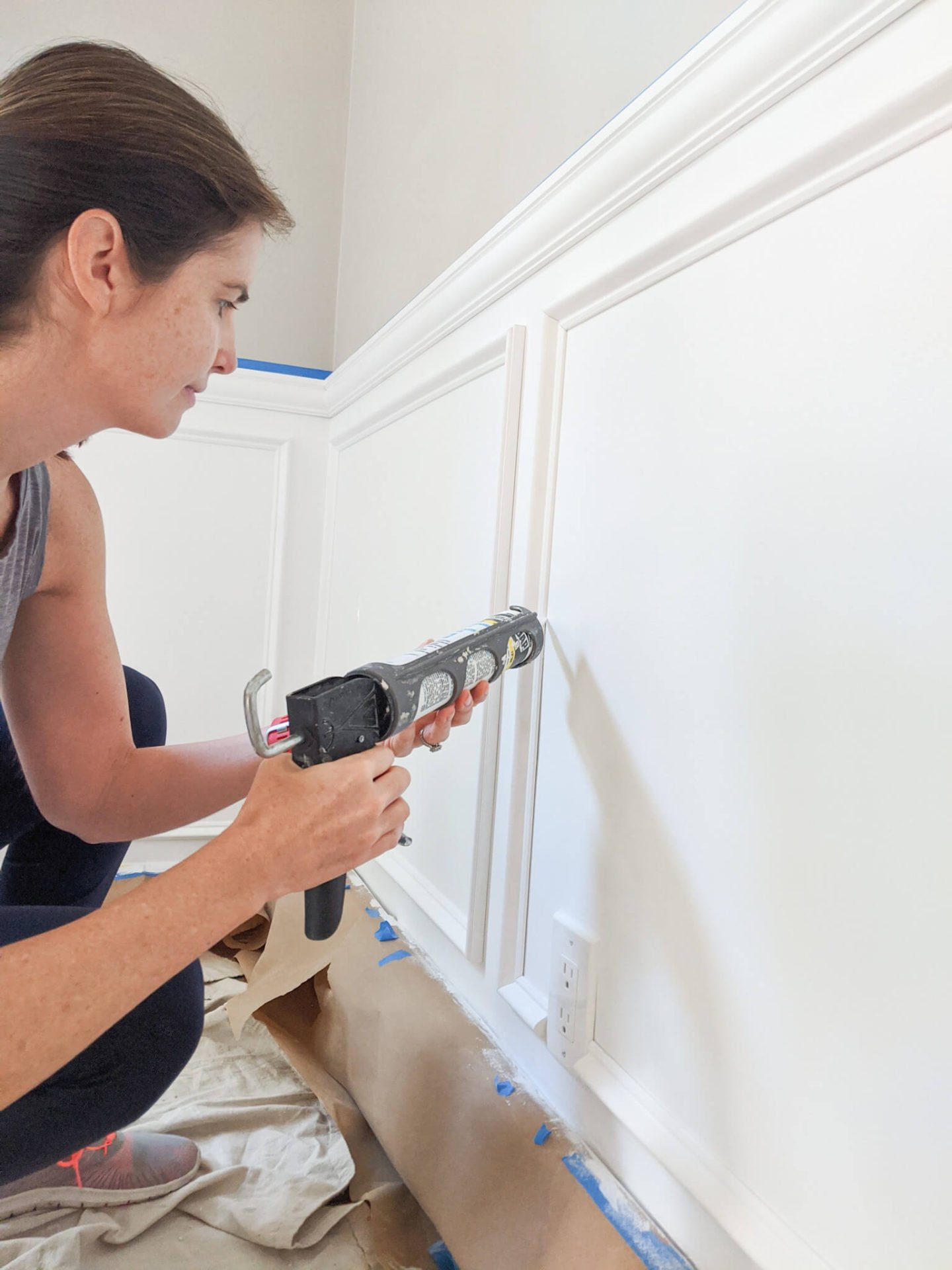 In this guide that covers how to install picture frame molding, caulking the edges of all of the molding is your second to last step.