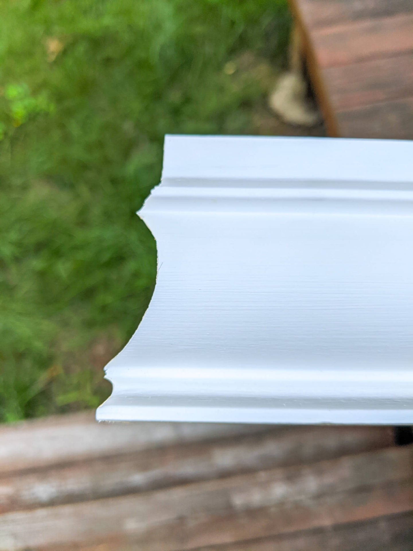 Wall molding after a coping cut was made