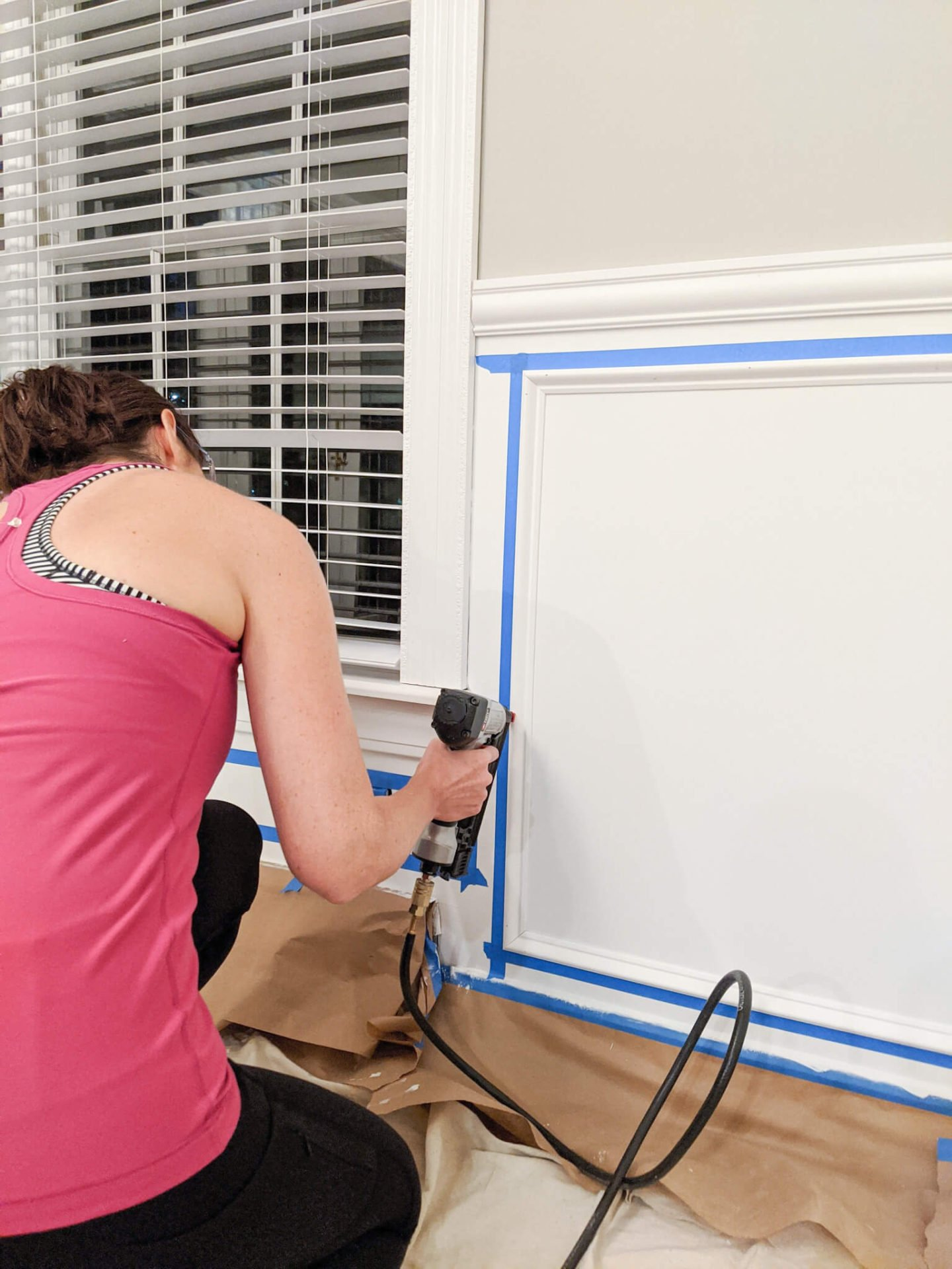 In this guide that covers how to install picture frame molding, you'll use a brad nailer or a air compressor nailer combo to nailing the molding to the wall