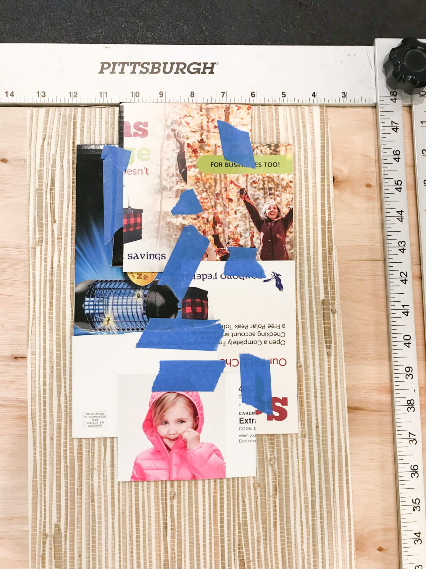 Once you make your template out of card stock, you can use a drywall square to ensure you cut straight lines.