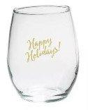 "4ct ""Happy Holidays"" Stemless Wine Glass"