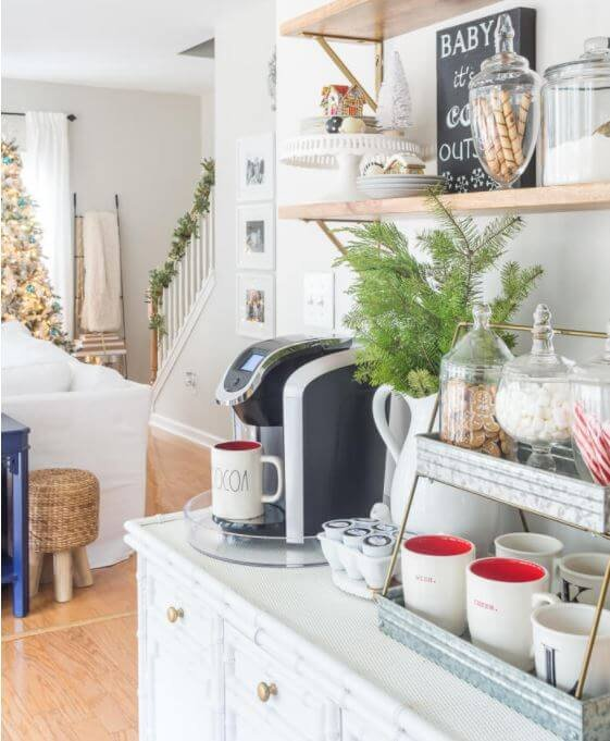 This hot cocoa station is a perfect way to warm up and add coziness to your home.