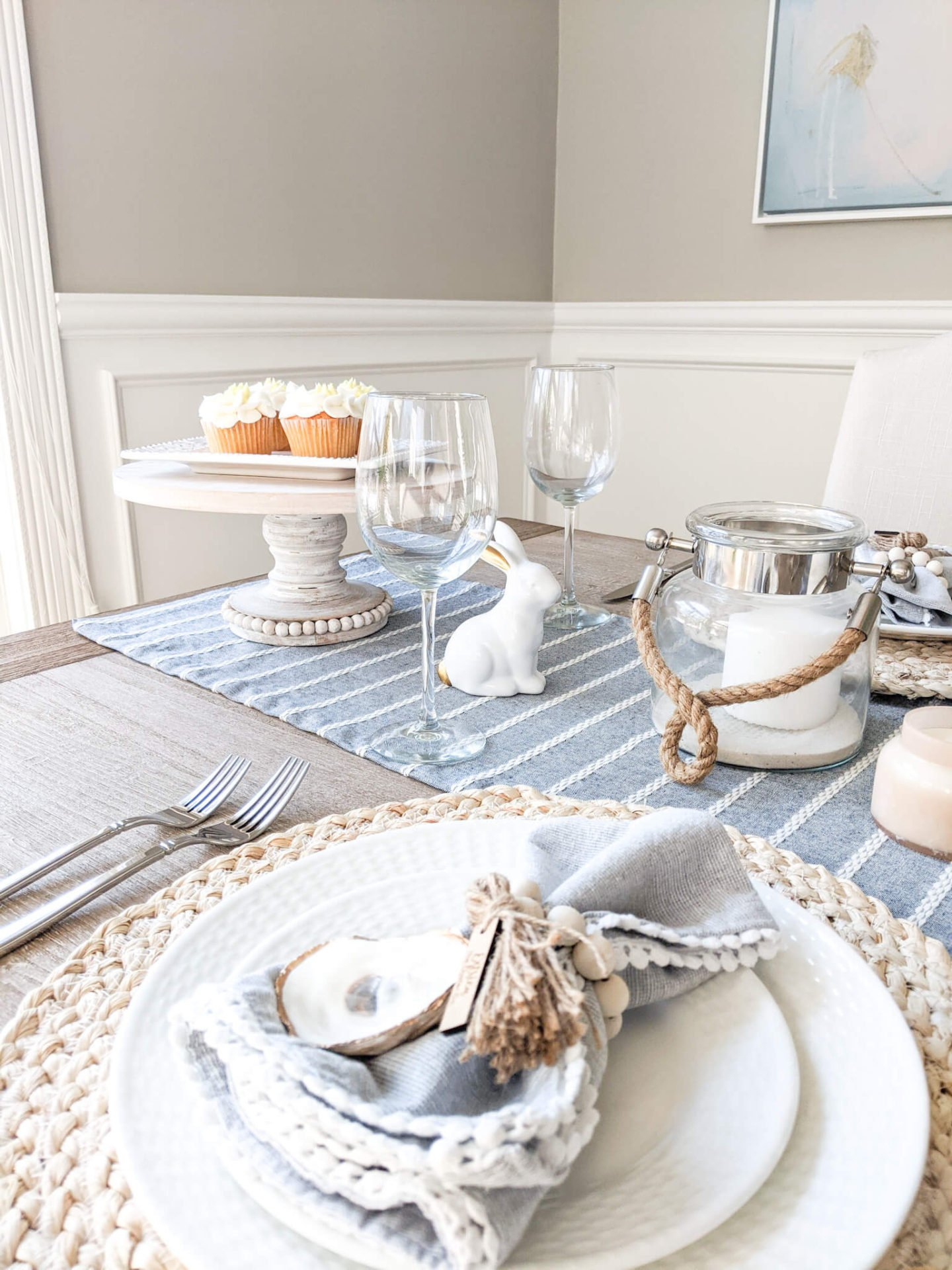 Cake stand on dining room table