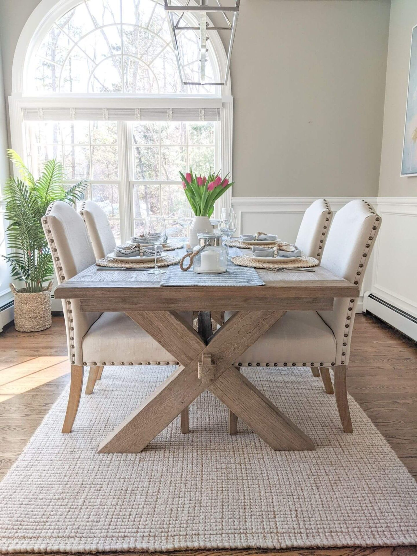 Coastal dining room with easter or spring tablescape