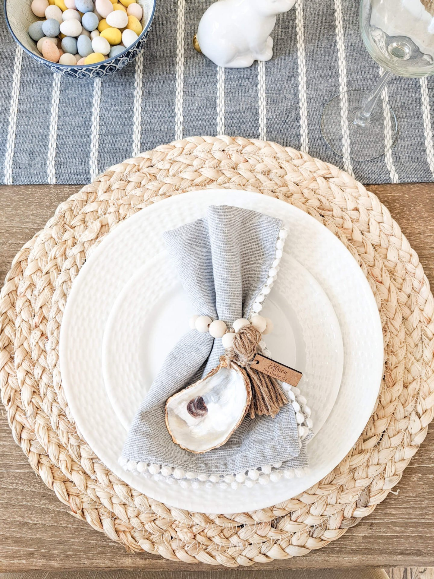 Easter or spring place setting for tablescape